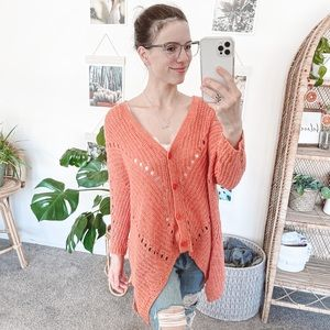 Anthropologie Moth Orange Knit Cardigan